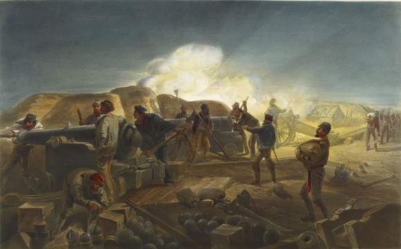 Soldiers loading and firing cannons, during the Crimean War