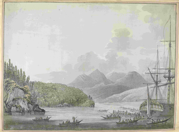 The ship, 'Resolution', at anchor in Nootka Sound, 1778,