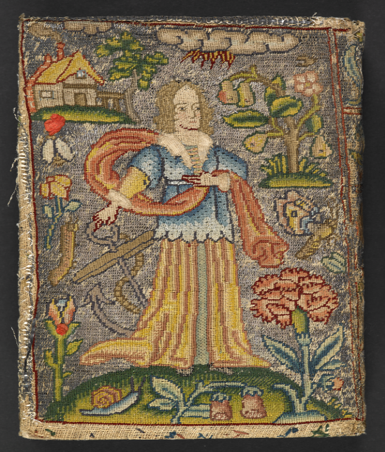 An embroidered book cover showing a man holding an anchor, surrounded by flowers, a pear tree, and a small house on the top left corner.