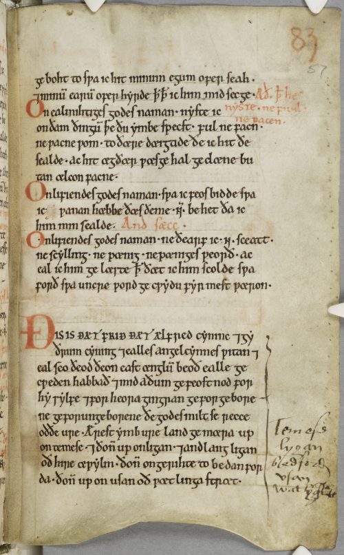 A text page in a medieval manuscript