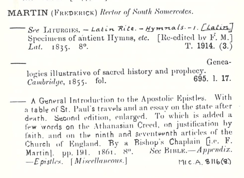 Entries from the British Library's pre-1975 catalogue of printed books under the name of  Frederick Martin
