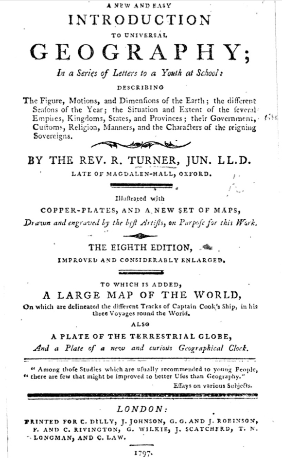 Title page of Richard Turner, A New and Easy Introduction to Universal Geography; in a Series of Letters to a Youth at School
