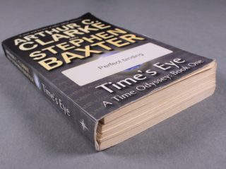 A paperpack book, lying down, showing the detached text-block from the cover.