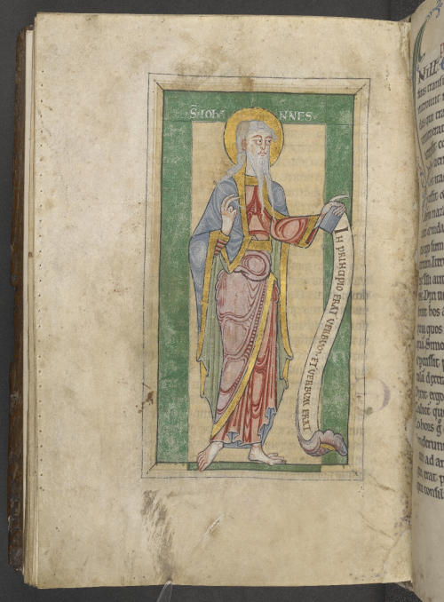 A figure of John the Evangelist holding a scroll