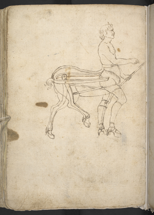 A page from a 15th-century Italian sketchbook, showing a design for a centaur costume.