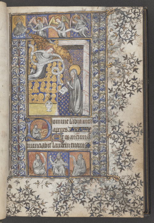A page from the Southwark Hours, showing a miniature of the Annunciation. A decorated initial contains Moses before the burning bush.