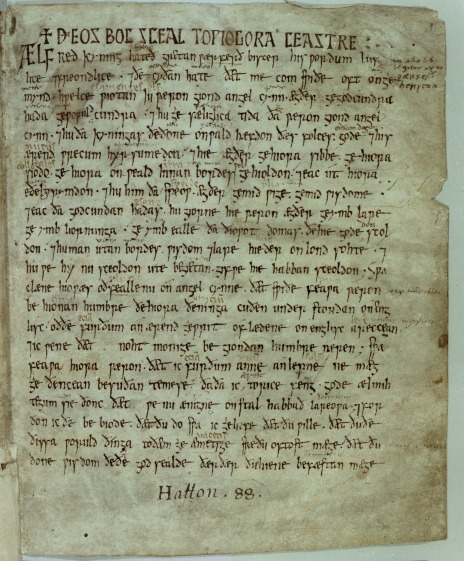 A page from a medieval manuscript of King Alfred's translation of the Pastoral Care