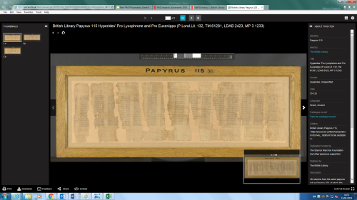 Image of a papyrus shown on an online viewer