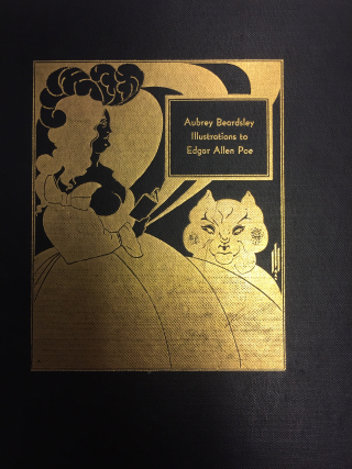 Front cover to 'Illustrations to Edgar Allen Poe' by Aubrey Beardsley including gold illustration of The Black Cat