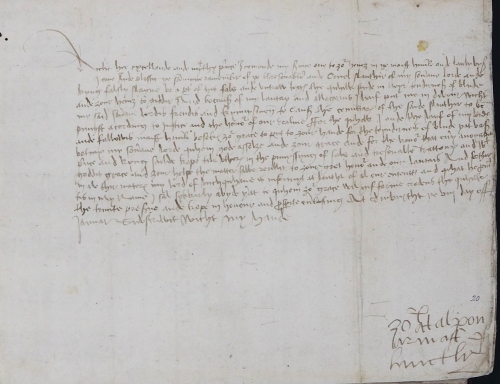 A page from a 16th-century manuscript, showing a letter from Alexander Gordon to Henry VII