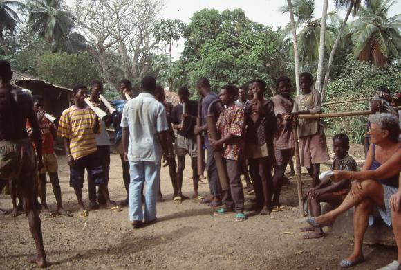 Photograph of musicians on Tasso Island