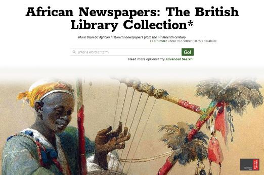 Front page of website African Newspapers: The British Library Collection