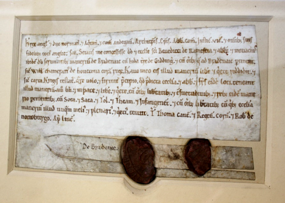 A close up of the Charter with Henry II's seal, in its original housing. The charter has writing in fairly gothic script, in a faded red on the pale parchment. There are two seals, in a red colour. The left hand seal is slghtly larger than the right.