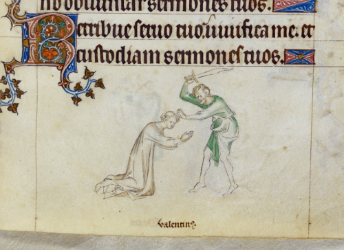 Drawing of the martyrdom of St Valentine in the Queen Mary Psalter