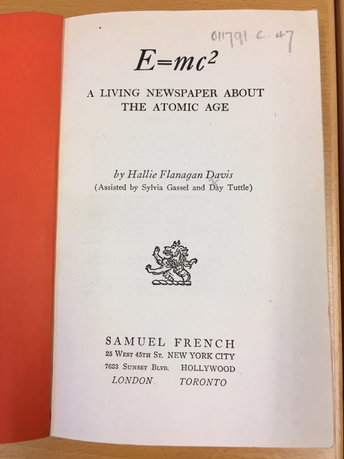 Title page of Hallie Flanagan's play E = mc2.