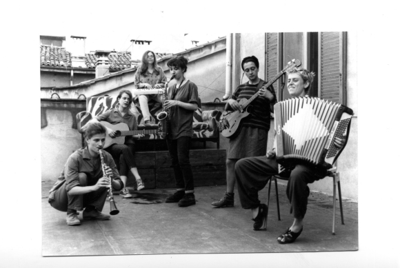 Photograph of Fastilio, soon after forming, rehearsing at the occupied School of Arts, Music and Theatre, University of Bologna