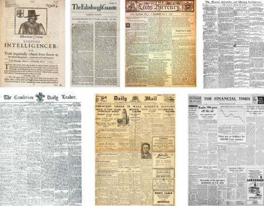 Newspaper front pages showing the evolution from one to eight columns