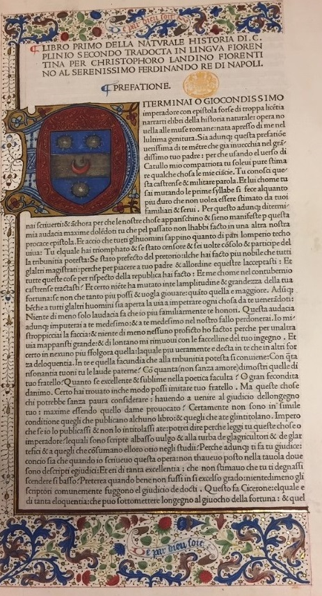 Opening of Pliny's preface from Historia Naturale