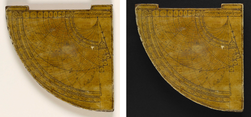Astrolabe quadrant before and after