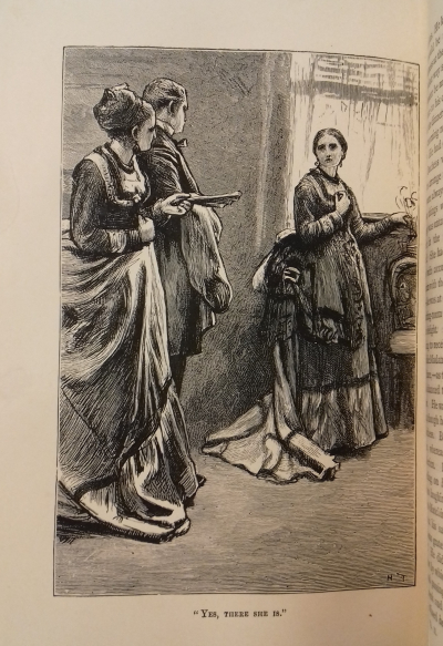 A man and a woman talking, in an illustration from Anthony Trollope, Phineas Redux