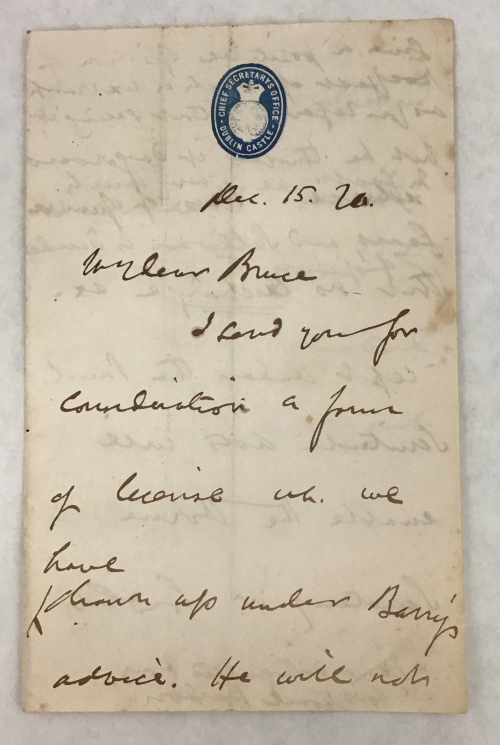 Handwritten Letter from Chichester Parkinson-Fortescue to Henry Bruce