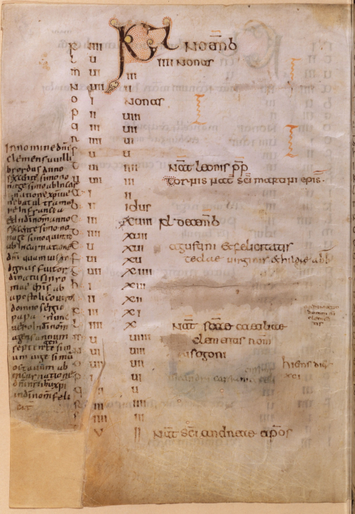 The Calendar of Willibrord featuring Willibrord's handwriting in the margin