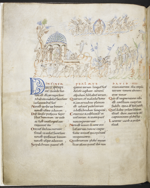 A page from the Harley Psalter, showing the text of Psalm 13, with accompanying illustrations of different Psalm verses.