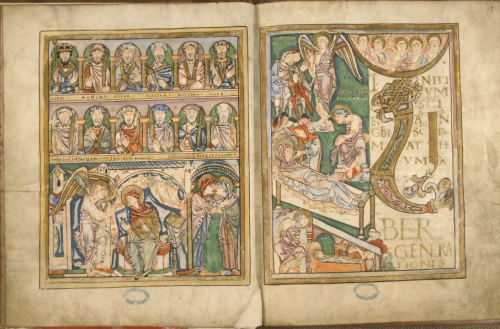 A highly decorated opening from the Boulogne Gospels, showing illustrations of St Matthew writing alonside the figures of David, Abraham, Isaac and Jacob, facing a representation of the Nativity.