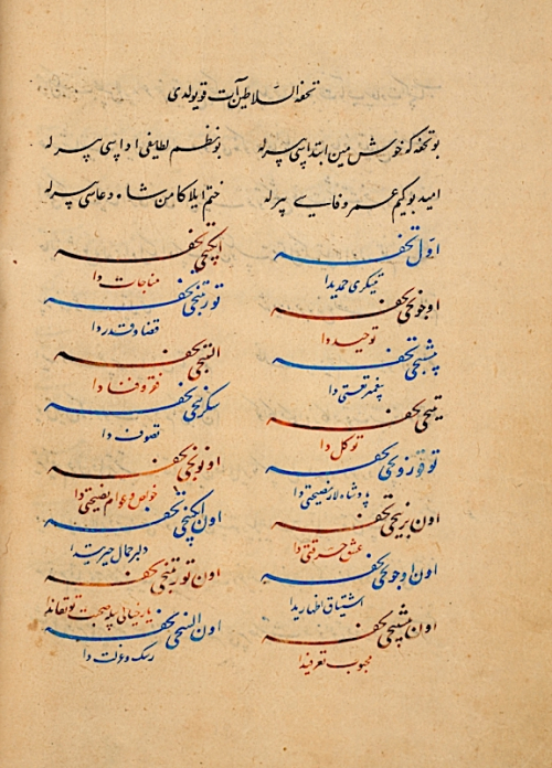 The beginning of the text Tukhfat al-salāṭīn at koyuldu, demonstrating the use of different coloured inks to complement the elegant calligraphy. Mecmua. Herat, 914 AH