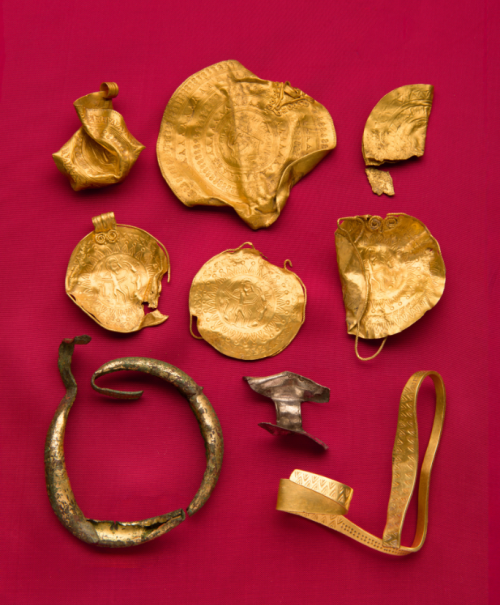 A collection of Anglo-Saxon artifacts made from gold, known as the Binham Hoard.