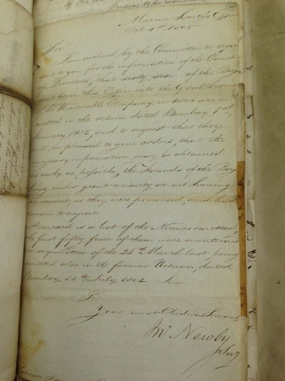 Letter to the East India Company from the Marine Society dated 1 October 1805 complaining of the lack of information about their boys
