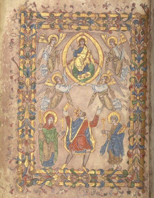 A page from the New Minster Charter, showing an illustration of King Edgar presenting the charter to Christ, with the figures of the Virgin Mary and St Peter on either side.