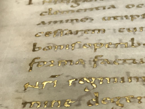 A detail from the New Minster Charter, showing a Latin text written in gold.