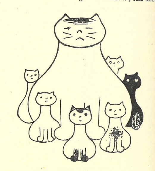 Illustration by Josef Čapek of a cat with its kittens