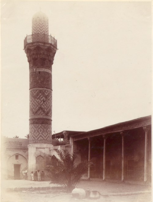Mosque and minaret of coloured tiles at Basra