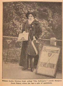 Sophia Duleep Singh selling 'The Suffragette' 1913