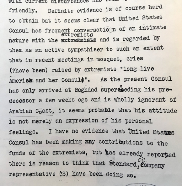 Extract of a telegram sent by the British Civil Commissioner in Baghdad, to the Secretary of State for Foreign Affairs, 3 August 1920