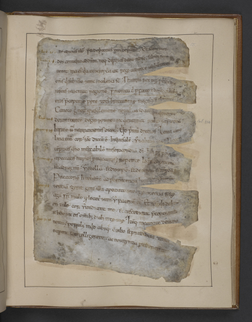 A page from an Anglo-Saxon manuscript of Gildas' The Ruin of Britain, damaged in the Ashburnham House Fire of 1731.