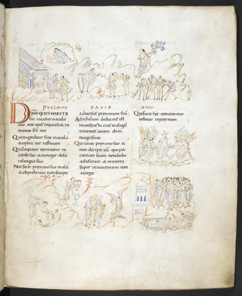 A page from the Harley Psalter, showing the text of Psalm 14, with accompanying illustrations of different Psalm verses.