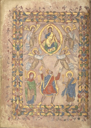 Portrait of King Edgar with the Virgin Mary, St Peter, Christ in Majesty and angels in the New Minster Charter