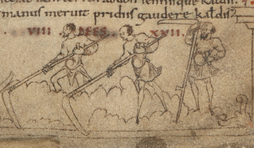 A detail from an Anglo-Saxon calendar, showing an illustration of labourers mowing with scythes.