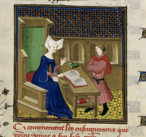 A detail from a manuscript of Christine de Pizan's The Book of the Queen, showing an illustration of Christine giving instructions from her book to her son.