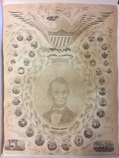 Photo of the Proclamation of Emancipation with calligraphic portrait of Abraham Lincoln