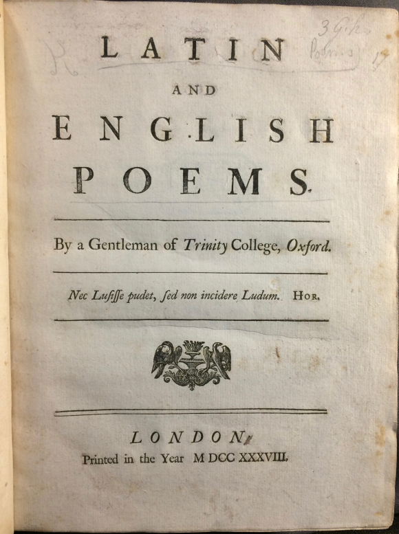 Title page of book of Latin and English poetry published 'by a Gentleman of Trinity College, Oxford'
