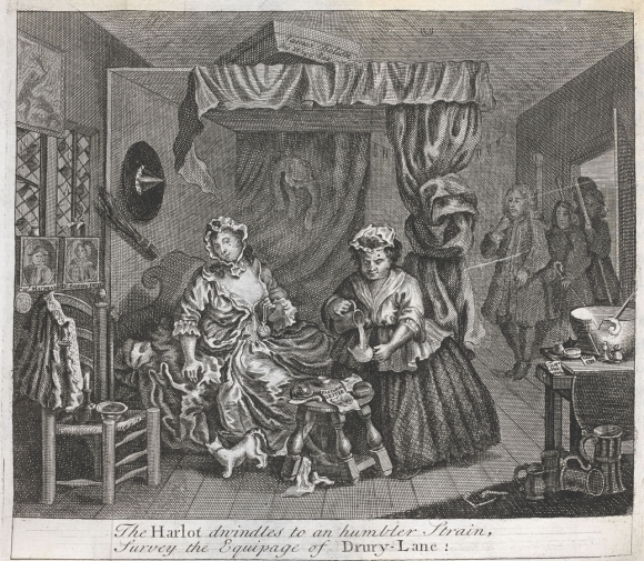 Plate from A Harlot's Progress by Hogarth