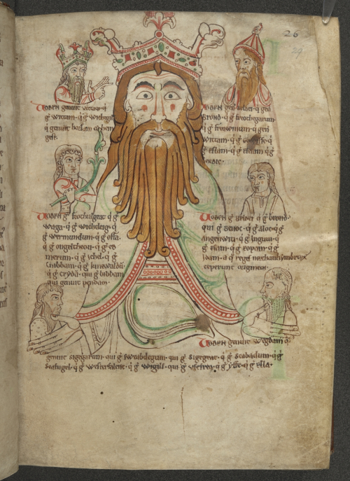 A page from a 12th-century historical chronicle, showing an image of the god Woden surrounded by portraits of five early Anglo-Saxon kings said to be descended from him.