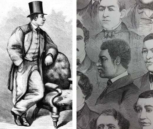 Boxer Bob Travers, from Illustrated Sporting News and Theatrical and Musical Review, 15 August 1863 (left) and 14 February 1863