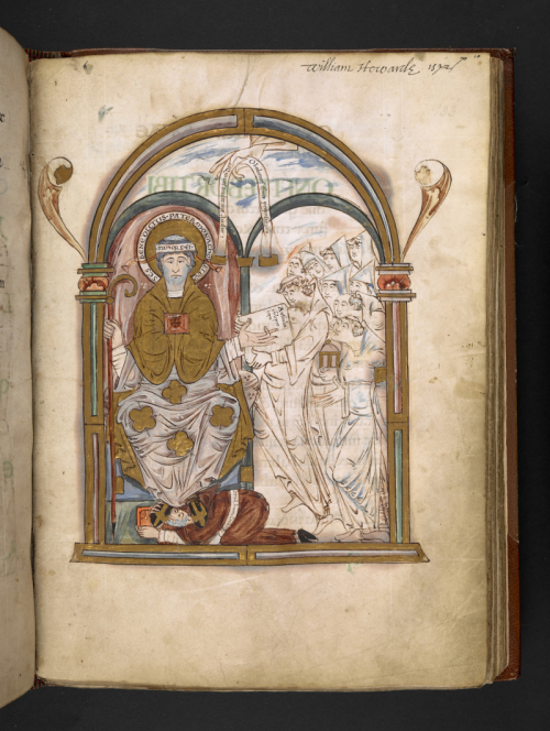 A page from the Eadui Psalter, showing an illustration of St Benedict and a group of monks.