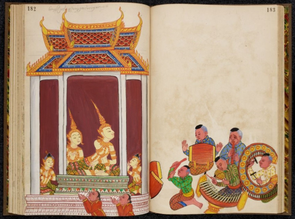 Scene from the Vessantara Jataka in a book containing drawings from the Ramayana and the Ten Birth Tales on European paper, with captions in Khmer script. Thailand or Cambodia, 1880. Credit: British Library