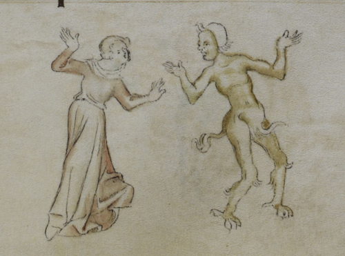 A detail from the Queen Mary Psalter, showing an illustration of a woman and a man, dressed as a satyr, dancing.